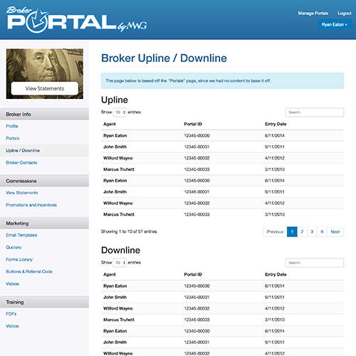 MWG Broker Portal Screenshot